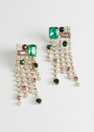 Dangling Rhinestone Gem Earrings - Lilac, Green - Drop earrings - & Other Stories