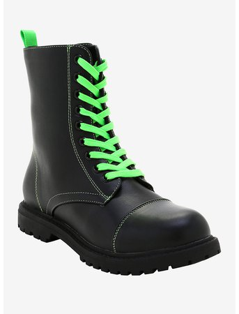 Black & Green Combat Boots