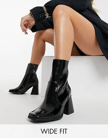 RAID Wide Fit Lorina heeled ankle boots in black | ASOS