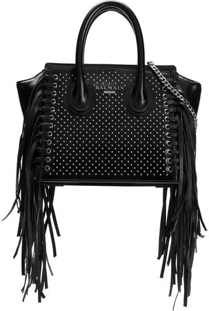 fringed studded tote bag
