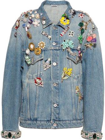 Miu Miu multi-brooch Denim Jacket - Farfetch