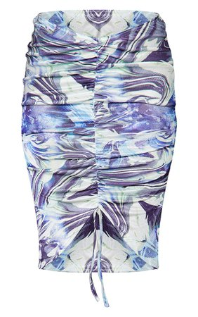 Blue Swirl Acetate Slinky V Ruched Midi Skirt | PrettyLittleThing USA