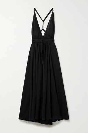 Black Hera leather-trimmed cotton-gauze halterneck maxi dress   Caravana   NET-A-PORTER