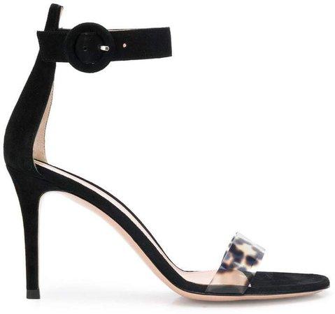 leopard print vinyl strap sandals