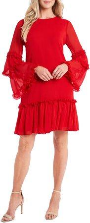 Ruffle Chiffon Shift Dress