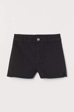 Twill Shorts High Waist - Black