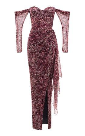 Rasario Off-Shoulder Leopard-Print Chiffon Gown Size: 40
