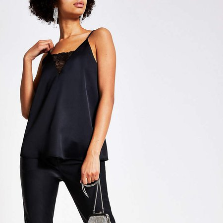 Black lace V neck satin cami top