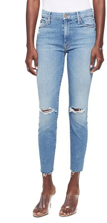 Looker Ripped High Waist Fray Ankle Skinny Jeans