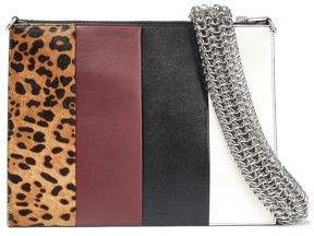 Calf Hair-paneled Color-block Leather Clutch