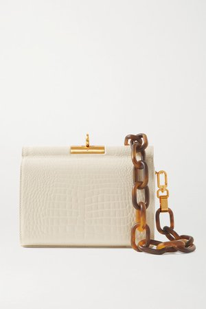 Gemma Croc-effect Leather Tote - Ivory