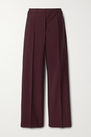 Wool And Mohair-blend Straight-leg Pants - Burgundy