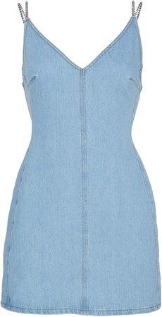 Crystal Strap Denim Mini Dress