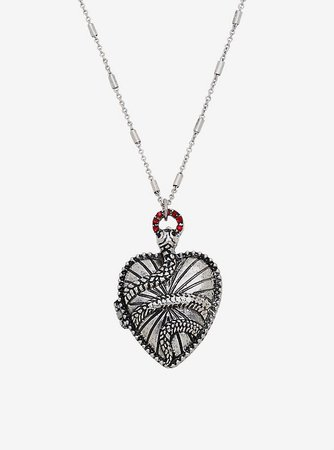Snake Heart Locket Necklace