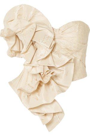Alexander McQueen | Strapless ruffled silk-jacquard bustier top | NET-A-PORTER.COM