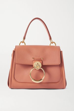 Pink Tess Day mini textured and smooth leather shoulder bag | Chloé | NET-A-PORTER