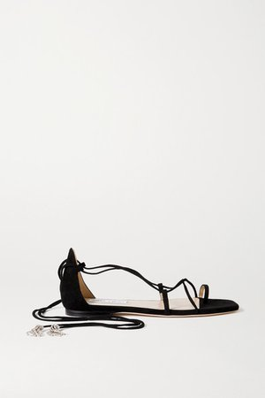 Dusti Crystal-embellished Suede Sandals - Black
