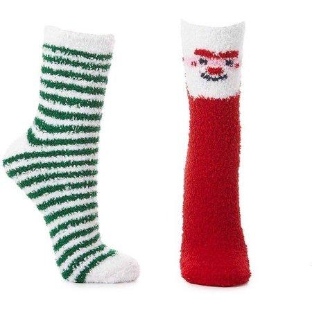 Charlotte Russe Fuzzy Santa Socks - 2 Pack