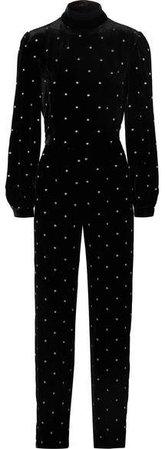 Raquel Diniz Open-back Embroidered Silk-velvet Jumpsuit - Black