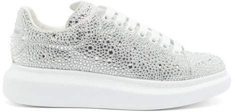 Crystal-embellished Suede Trainers - Womens - White