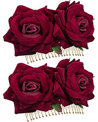 2 Pack Rose Flower Hair Clip Women Rose Flower Hair Accessories Wedding Hair Clip Flamenco Dancer (Dark Red): Amazon.co.uk: Beauty