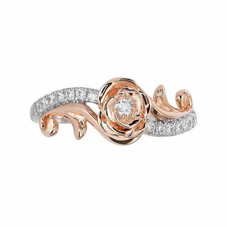 """Enchanted Disney Fine Jewelry 1/5 CT. T.W. Round Diamond 10K Two Tone Gold """"Belle"""" Engagement Ring - JCPenney"""