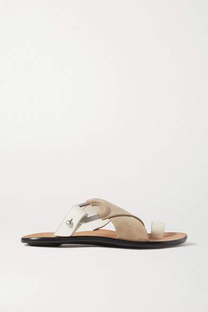 August Suede And Leather Slides - Taupe