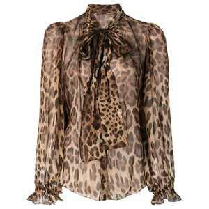 Dolce & Gabbana Blusa Animal Print Com Laço