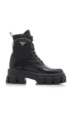 Pouch-Detailed Leather Lace-Up Boots By Prada | Moda Operandi
