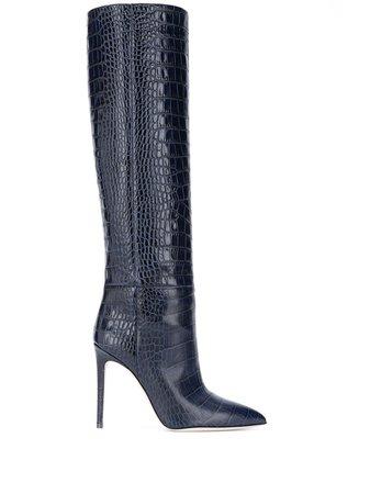 Paris Texas, crocodile-effect knee-high boots
