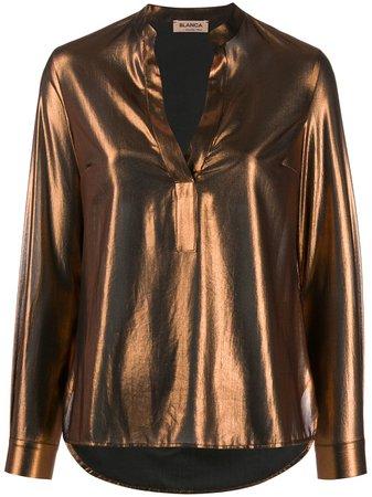 Blanca Metallic Long Sleeve Blouse