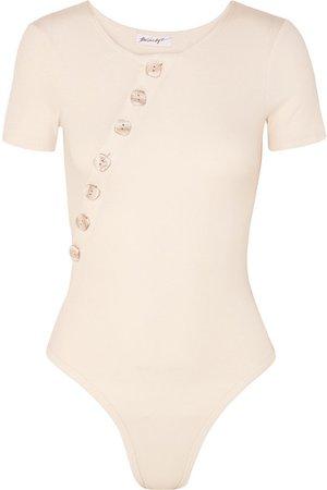 The Line By K | Kym button-embellished ribbed stretch cotton-jersey bodysuit | NET-A-PORTER.COM