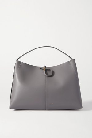 Ava Large Leather Tote - Gray