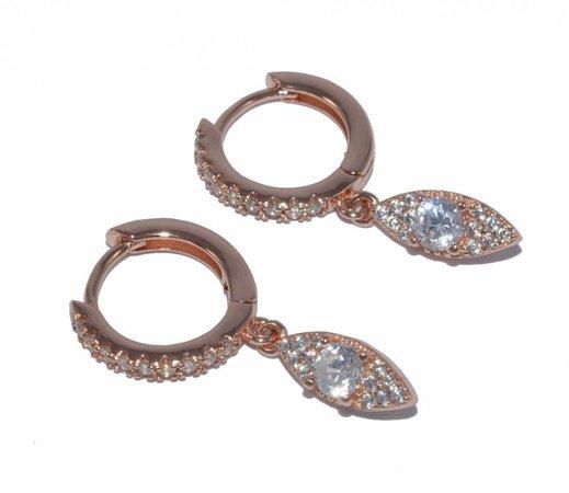 Σκουλαρίκια κρικάκια με κρεμαστό σχέδιο μάτι ασήμι 925 επιχρυσωμένο