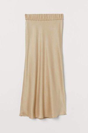 Calf-length Silk Skirt - Beige