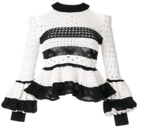self-portrait striped sweater with ruffles and open shoulders