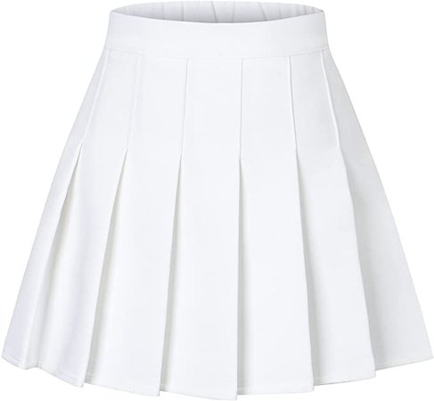 """Amazon.com: SANGTREE Toddler Little & Big Girls' Short Solid Plain Pleated School Uniform Cosplay Costume Skirt, White, 6-7 Years/Height 51.2"""" = Tag 130: Clothing"""