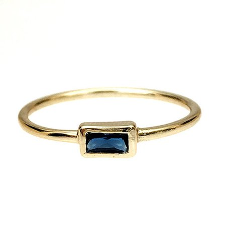 Baguette gold ring Blue Navy cz gold ring Dainty   Etsy