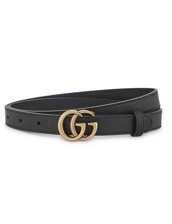 GUCCI - GG buckle thin leather belt | Selfridges.com