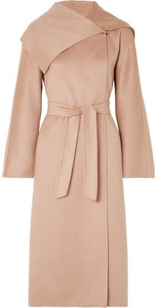 Gail Belted Cashmere Coat - Pastel pink
