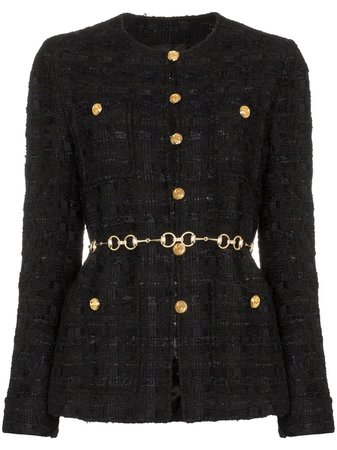 Gucci Tweed Jacket With Horsebit Belt - Farfetch