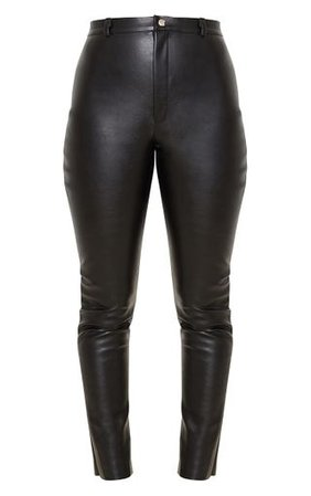 Black Faux Leather Skinny Trouser   Trousers   PrettyLittleThing