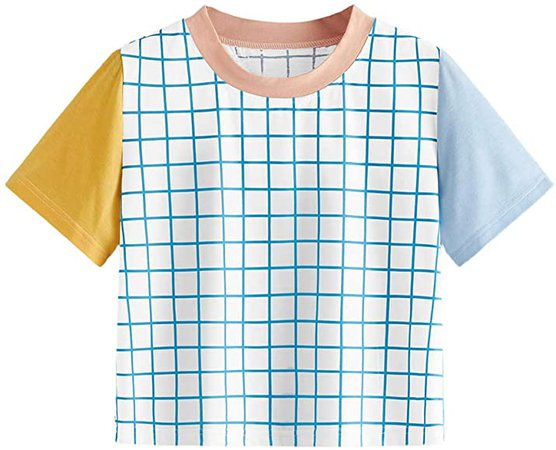 Romwe Women's Cute Striped Colorblock Short Sleeve Casual Crop Tee Tops T-Shirt Multicolor#1 S at Amazon Women's Clothing store