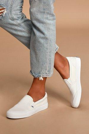Keds Crew Kick 75 - Slip-On Sneakers - White Canvas Sneakers