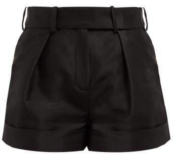 High Waist Cotton Blend Oxford Shorts - Womens - Black