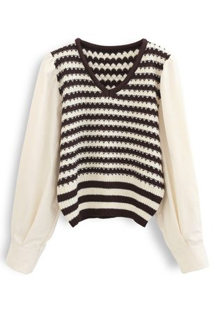 Cotton Sleeves Striped Knit Sweater in Caramel - Retro, Indie and Unique Fashion
