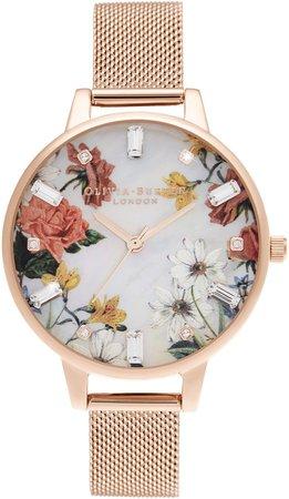 Sparkle Floral Mesh Strap Watch, 34mm