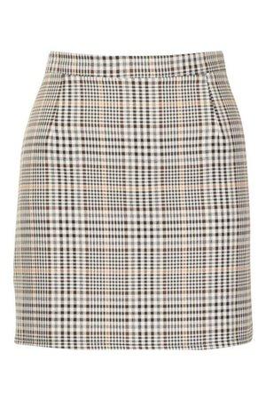Tonal Check A Line Mini Skirt | boohoo