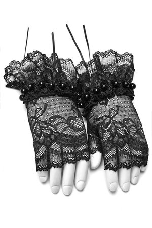 Gardenia Black Lace Gloves by Punk Rave | Gothic Accessories