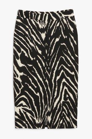 Mesh midi skirt - Zebra print - Midi skirts - Monki